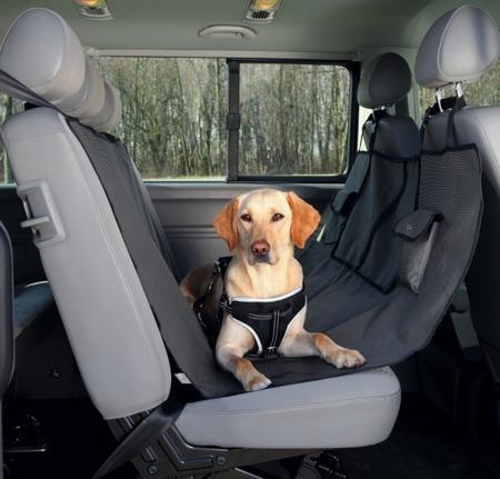Czarno-brązowa mata ochronna dla psa na tylne siedzenie auta - 140x145 cm