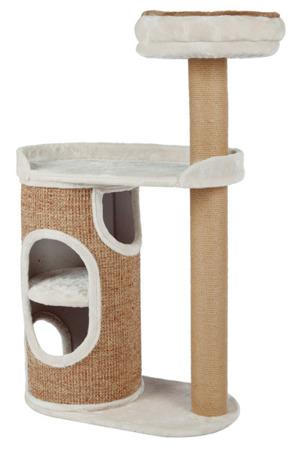 Drapak z dwupiętrowym domkiem w formie wieży i legowiskami – jasnoszary i brąz