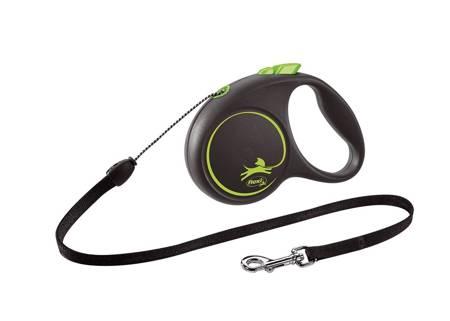 Flexi Black Design Smycz automatyczna Linka Small 5m czarno-zielona