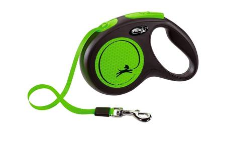 Flexi New Neon Smycz automatyczna Neon zielony taśma 5m Medium