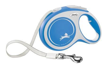 Flexi Smycz automatyczna New Comfort L taśma 8m niebieska