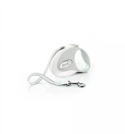 Flexi Smycz automatyczna Style S taśma 3m biała