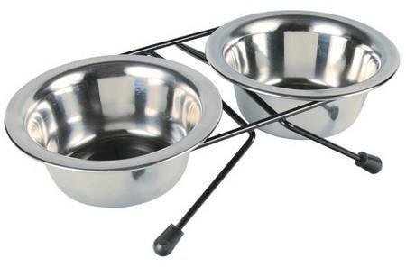 Metalowe miski na stojaku M małego i średniego psa - 2x750 ml