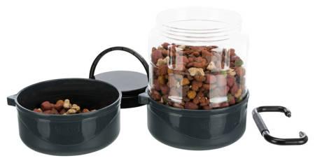 Zestaw turystyczny dla psa, pojemnik na karmę 2l i dwie miski po 750 ml
